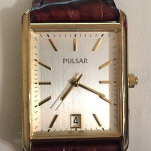 Pulsar Women's Rectangular Leather Strap Watch